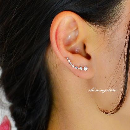 Ear Pin Set Cubic Zircon Ear Crawler Silver Gold Boho