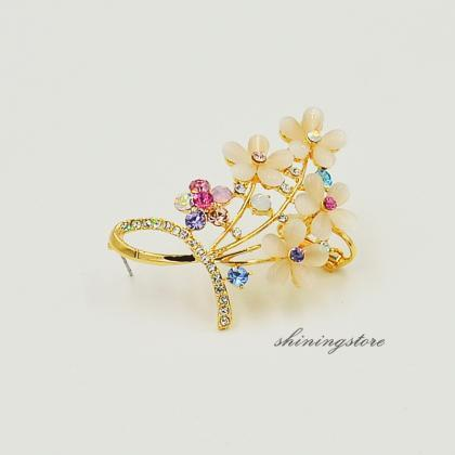 Opal Flower Ear Cuff - Left ear - B..
